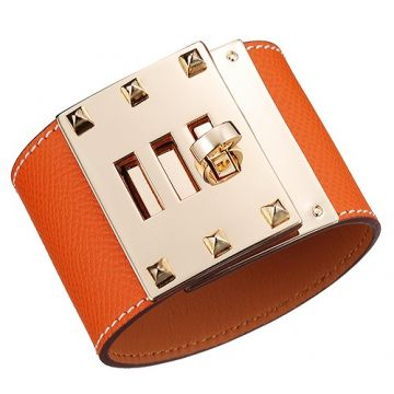 Hermes Women's Kelly Dog Yellow Gold Plated Hardware Orange Wide Leather Bracelet Rock And Roll
