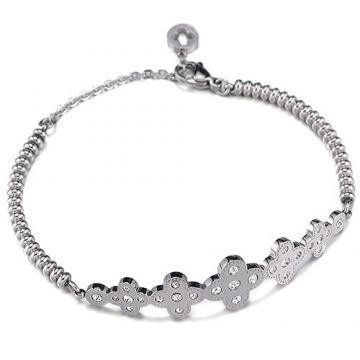 VCA Perlee Silver Clover Decorations Inlaid Crystals Bead Chain Bracelet For Women Price Malaysia