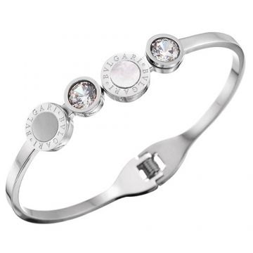Bvlgari Bvlgari Modern Style White & Grey Enamel Crystals With Logo Silver Bangle Price In Canada Women