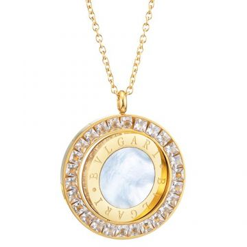 Bvlgari Bvlgari Luxury Gold-plated Chain Necklace Round Pendant Engraved Crystals Logo Pearl Sale Malaysia Lady