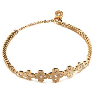Van Cleef & Arpels Fake Perlee Gold-plated Clover Diamonds Bead Bracelet UK Online Shop Women