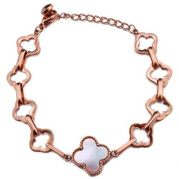 VCA Vintage Alhambra Rose Gold-plated Clover Charm With Pearl Hollow Style Bracelet Girls Gift Sydney