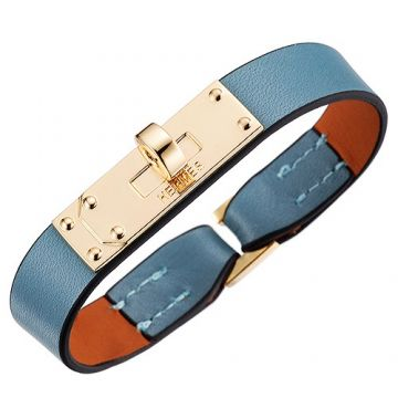 Hermes Micro Kelly Yellow Gold-plated Buckle Light Blue Leather Bracelet New Arrival Sale Malaysia Women
