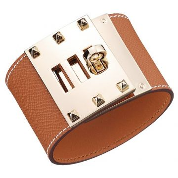 Hermes Kelly Dog Tan Leather Wide Adjustable Bracelet Gold-Plated Hardware For Women Price Australia