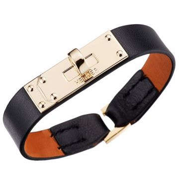 Hermes Micro Kelly Vintage Black Leather Bracelet Gold-Plated Hardware Online Shop Dubai Unisex Style