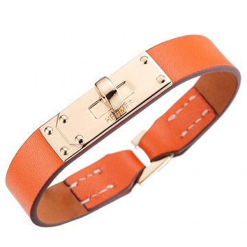 Knockoff Hermes Micro Kelly Orange Leather Bracelet 316L Steel Party Style Rotating Buckle Price USA