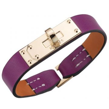 Hermes Micro Kelly Stylish Gold-Plated Rotating Buckle Purple Leather Bracelet Office Lady Review In India