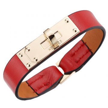 Hermes Sexy Micro Kelly Red Leather Bracelet Yellow Gold Plated Buckle Price Singapore For Lady