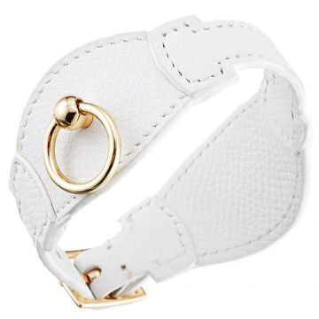 Hermes Elegant White Leather Bracelet Yellow Gold Plated Buckle Unisex Online Shop Canada