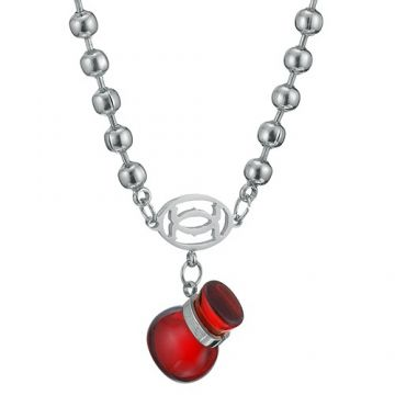 Cartier Silver-plated Double C Logo Beaded Necklace Red Bottle Charm Price In Singapore Women Sale