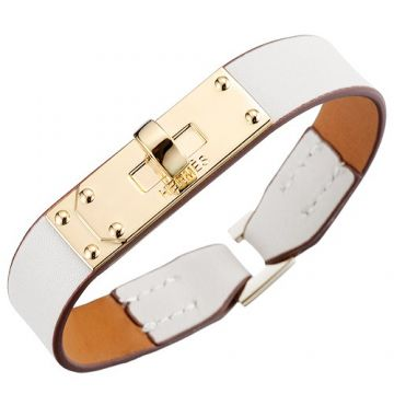 Hermes Micro Kelly White Leather Bracelet Yellow Gold-plated Hardware Christmas Gift For Girlfriend UK Sale