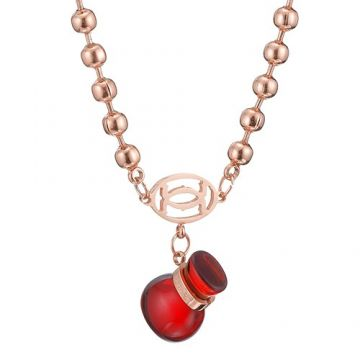 Delicate Cartier Double C Logo Red Pendant Rose Gold-plated Necklace For Girls Celebrity 2018 Newest