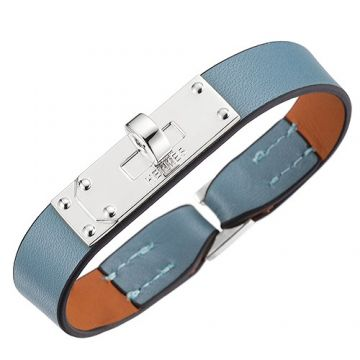 Wholesale Hermes Micro Kelly Silver-Plated Rotating Buckle Light Blue Leather Bracelet Celebrity Online Shopping India