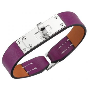 Hermes Micro Kelly Purple Leather Bracelet Silver Plated Buckle Sale Girls 2018 Best Gift US