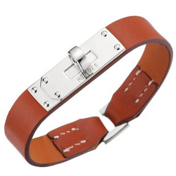Hermes Lady Micro Kelly Tan Leather Bracelet Silver Plated Buckle Newest Design Imitation Italy Price