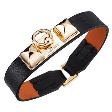 Clone 2018 Hermes Cool Micro Rivale Gold Plated Buckle Black Leather Bracelet Sale Unisex Malaysia