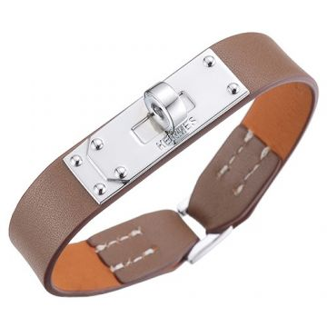 Hermes Micro Kelly 316L Steel Rotating Buckle Grey Leather Bracelet Vintage Style Women/Men Promotion Gift