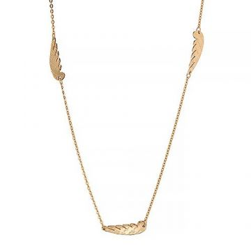 Knockoff Cartier Yellow Gold-plated Wing Pendant Chain Necklace For Sale Paris Review Couple Style