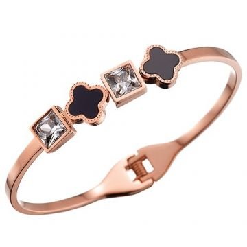Van Cleef & Arpels Perlee Rose Gold-plated Square Crystals Black Enamel Clover Bangle Online Singapore