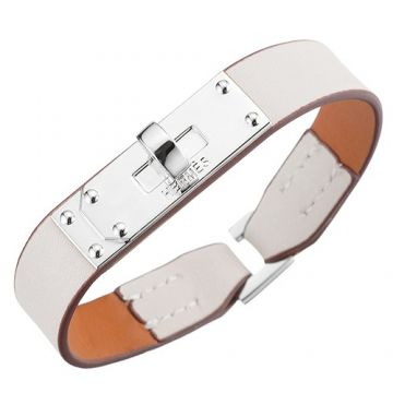 Hermes Micro Kelly Chic Style White Leather Bracelet Silver-Plated Buckle Women & Men Online Shop America