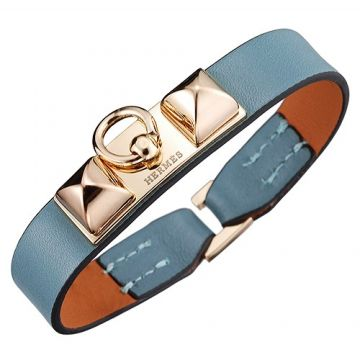 Hermes Micro Rivale Unisex Light Blue Leather Bracelet Yellow Gold Plated Buckle On Sale UK