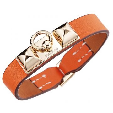 Hermes Replica Micro Rivale Gold-Plated Buckle Orange Leather Bracelet Price Singapore Women/Men Online Store