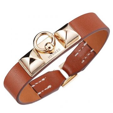 Hermes Unisex Micro Rivale Orange Leather Bracelet Gold Plated Charm Chic Style Replica Celebrity US