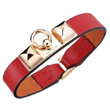 Hot Sale 2018 Hermes Micro Rivale Gold Plated Hardware Red Leather Bracelet Canada Review H067605CCT5S