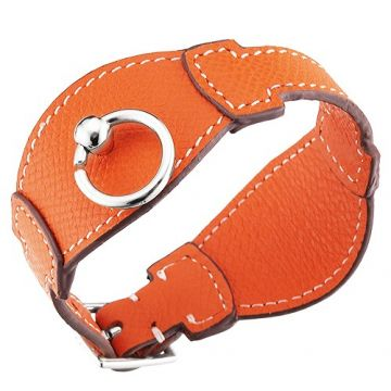 Hermes Orange Leather Bangle Circle Silver-Plated Hardware Review In Italy 2018 Unisex Style