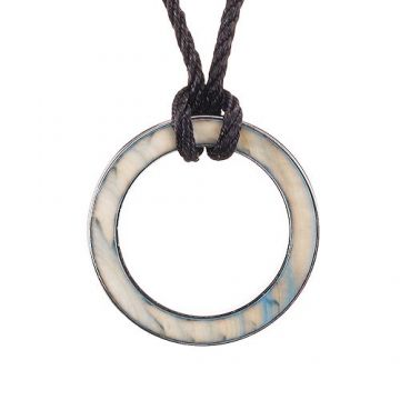 Bvlgari Bvlgari Black Cord Necklace Mother-Of-Pearl Side Silver Circle Logo Pendant Girls/Boys Sale America