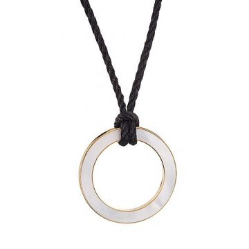 Bvlgari Bvlgari Cord Necklace Pearl Decked Gold-plated Round Pendant Clone For Women Men US Price