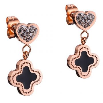 Clone VCA Magic Alhambra Rose Gold-plated Eardrop Black Enamel Adorned Diamonds Online Shop UK Women