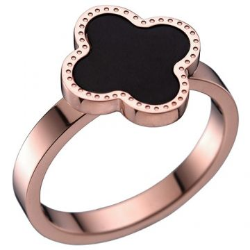 Van Cleef & Arpels Magic Alhambra Ladies' Rose Gold-plated Ring Black Enamel Clover Engraved For Sale US