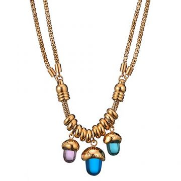 Knockoff Bvlgari Gold-plated Double Chain Necklace Three Charm Adorned Blue/Purple Crystals Price List US