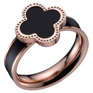 VCA Magic Alhambra Black Enamel Rose Gold Color Ring Clover Decoration Rock Style NYC Girls