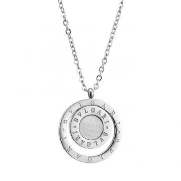 Bvlgari Bvlgari Knockoff Circle Pendant Decked Symbol Pearl Silver Chain Necklace Women/Men Shop Online Australia