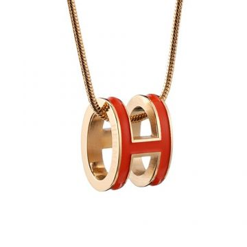 Hermes Pop H Hollow Pendant Red Lacquered Gold-plated Chain Necklace Party Style Price Women
