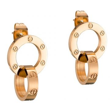 Cartier Love Interlocking Circle Drop Earrings Knockoff Gold-plated Encrusted Screw Motif Price Singapore