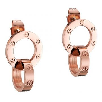 Cartier Love Vintage Rose Gold-plated Drop Earrings Double Circle Pendant With Screw Detail Lady Sale