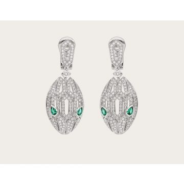 Good Reviews Bvlgari Serpenti Hollow Snake Head Pendant Emerald Eye Females Sterling Silver Full-set Diamonds Earrings 352756 OR857727