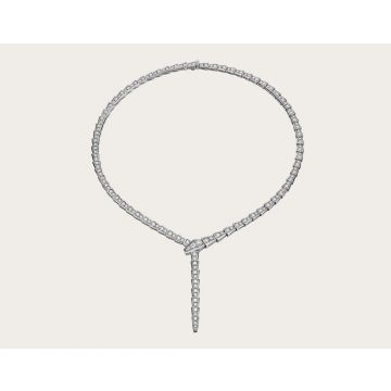 Womens Luxury Bvlgari Serpenti 925 Sterling Silver Snake Style Full Pave Diamonds Slim Necklace 351090 CL857425