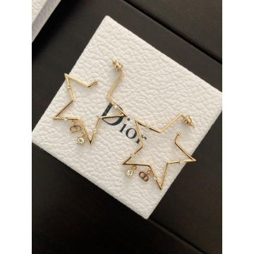 Latest Dior Classic CD Letter White Crystal & Yellow Gold Star Pendant Womens Earrings Sale Malaysia