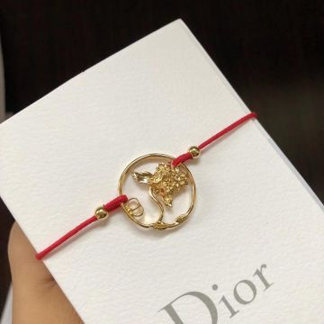 Fall Latest Style Christian Dior Diorelita Yellow Gold Hydrangea Pattern Red Cotton Cord Bracelet For Womens B0914ANIMT_D309