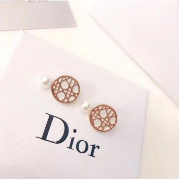 Latest Fashion Dior White Pearl Rounded Yellow Gold Openwork Clip Earrings For Girls Best Gift