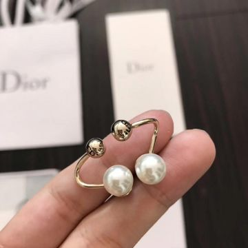 Most Popular Dior Tribales White Pearl Sphere Detail Tortuous Yellow Gold Womens Stud Earrings Online Shop