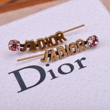 Dior J'Adior Boucles D'oreilles Pink Crystal Retro Brass Logo Motif Ladies Clip Earrings For Sale