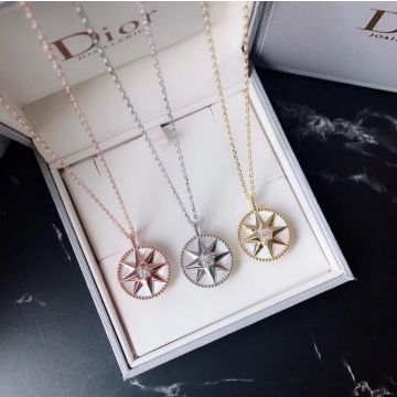 Best Dior Rose Des Vents White MOP Eight-Pointed Star Pendant Ladies Diamonds Necklace Rose Gold/Yellow Gold/ Silver