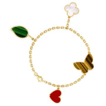 Celebrity Style VCA Lucky Alhambra 4 Motifs Carnelian Tiger's Eye White MOP Malachite Colorful Pendant Female Bracelt Yellow Gold/ Rose Gold VCARD79600