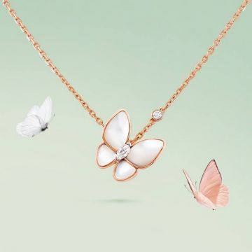 Celebrity Style Van Cleef & Arpels Two Butterfly MOP Pendant Female Rose Gold Women Marquise Diamond Necklace VCARO8FO00