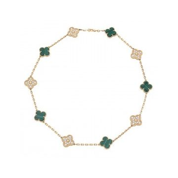2021 Most Luxury VCAVintage Alhambra 10 Motifs MOP & Malachite Clover Pendant Women Diamonds Necklace Yellow Gold/Rose Gold VCARO9J400